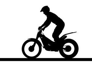 Fototapete - Sport motorcycle and man white background