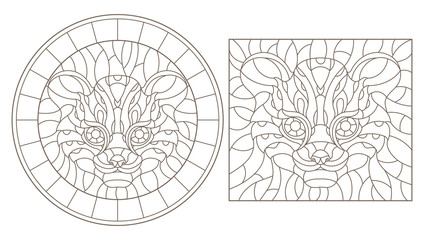 Set contour illustrations of stained glass with a Cheetah head, round and square image, dark contours on white background