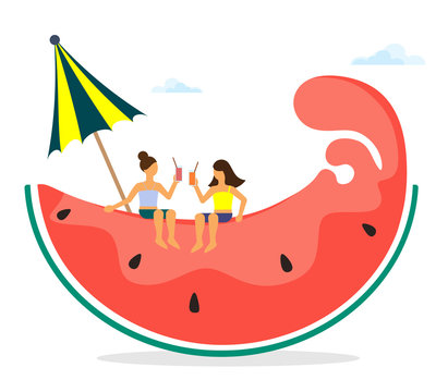 Vector illustration of a stylized watermelon wedge with summer characters of girls. Vector isolate on white background