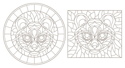 Set contour illustrations of stained glass with a tiger head, round and square image, dark contours on white background