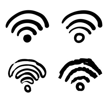 handdrawn doodle wifi icon collection