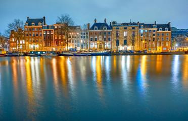 Aluminium Prints Autumn Amsterdam at night, the Netherlands.