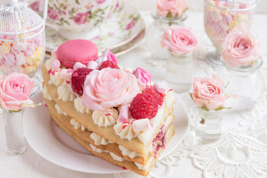 A piece of cake with flowers. Romantic Valentine's Day breakfast.