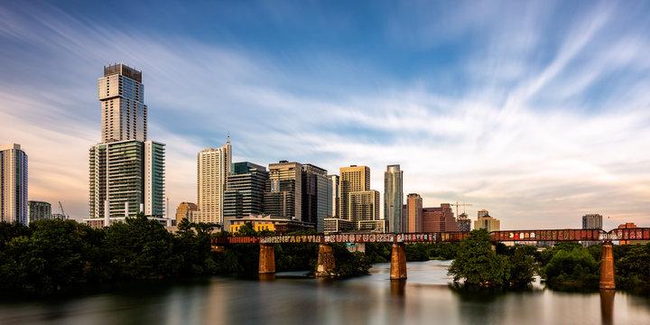 A long exposure photo of Austin, Texas