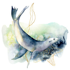 Watercolor sea lion and seaweed composition. Hand painted underwater illustration isolated on white background. Aquatic golden line art illustration for design, print or background.