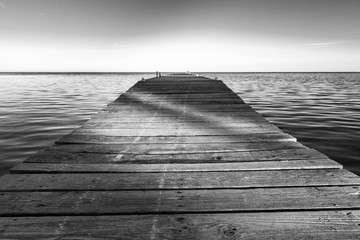 Shadows On Jetty Black and White