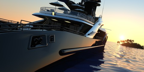 Luxury Super Yacht Extremely Detailed and realistic High Resolution 3D Illustration