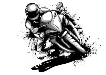 Racer riding motorbike logo isolated on background of night sky. Side view of man in helmet, motorbilker on scooter vector illustration male on bike Wall mural