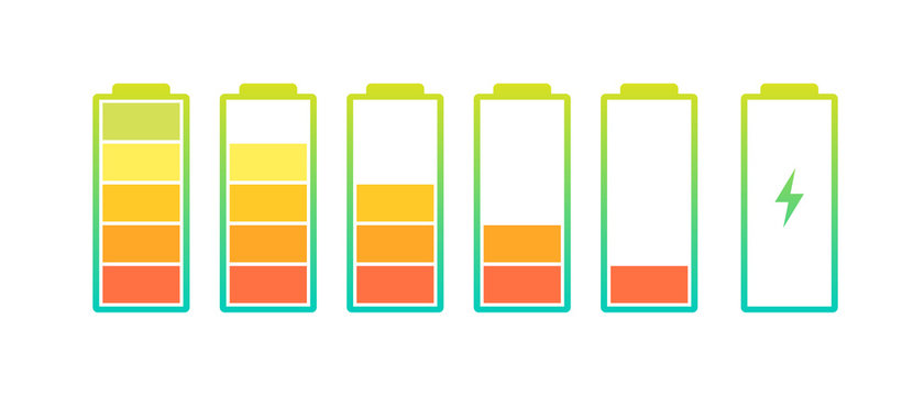 Battery charge indicator icons set. Charging level full power low to high up and lightning. Gadget alkaline energy status vector colorful illustration