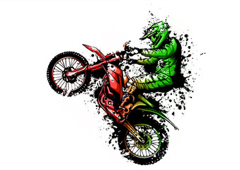 motocross rider ride the motocross bike vector illustration Fototapete