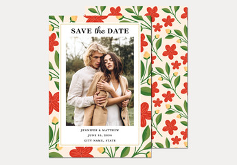 Illustrative Floral Save the Date Invitation Layout