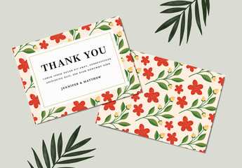 Illustrative Floral Thank You Card Layout