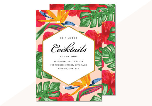 Summer Party Invitation Layout with Tropical Flower Pattern