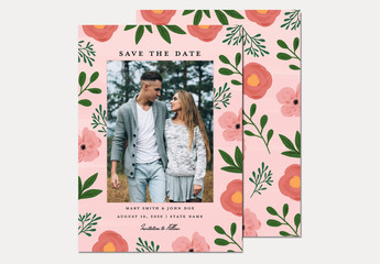 Illustrative Floral Save the Date Layout with Photo