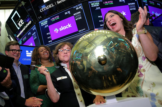 Norma Butterfield rings ceremonial bell during Slack Technologies Inc. direct listing at New York Stock Exchange (NYSE) in New York