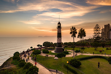 Panoramic view of Miraflores and Ocean at sunset in Lima, Peru