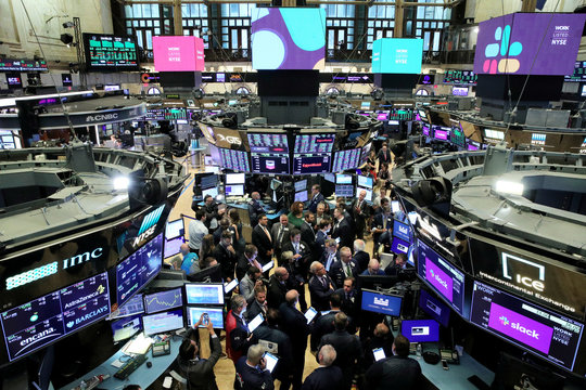 Floor of New York Stock Exchange as Slack Technologies Inc. holds it's direct listing in New York