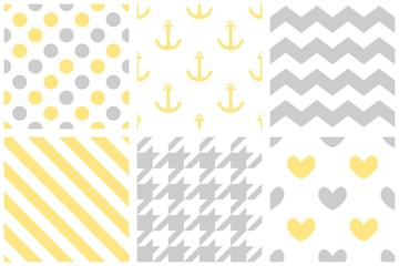 Tile vector pattern set with pastel print on white background
