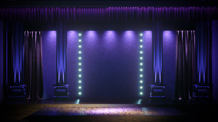 Dark empty stage with spot lights. Comedy, Standup, cabaret, night club stage 3d render