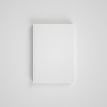 Blank white paper on white background. Easy cover mockup. Front view.