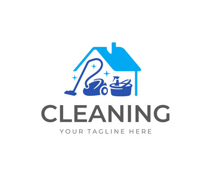 House cleaning service logo design. House with vacuum cleaner, bucket and cleaning products vector design. Spring cleaning logotype