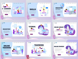 Tutorial infographic,e-learning research, online courses concept. Character teaching course . Flat style.