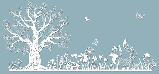 Template glade for to cut with a laser from paper. Line with mushrooms, grass, and butterflies, wood and flowers. For decoration and design. Template for laser cutting and Plotter. Vector illustration