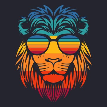 lion head retro eyeglasses vector illustration
