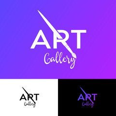 Art Gallery Logo. R Monogram With Art Brush. Artistic School Or Galery Emblem. Typography. Simple Letters And Brush.