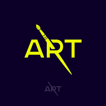 Art Logo. R Monogram With Art Brush. Artistic School Or Galery Emblem. Typography. Simple Letters And Brush.