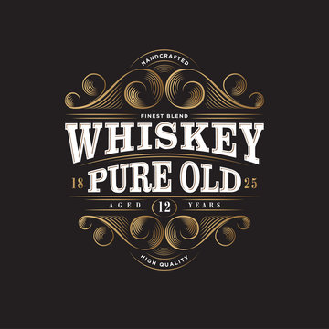 Whiskey Logo. Whiskey Pure Old Label. Premium Packaging Design. Lettering Composition and Curlicues Decorative Elements. Baroque Style.