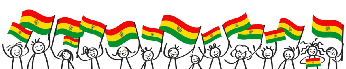 Bolivia flag, crowd of stick figures with Bolivian national flags banner