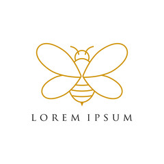 Minimalist and luxury bee logo design , line art style