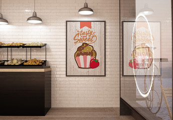 Bakery Coffee Shop Interior with Poster and Window Mockup