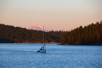 A sail boat motors into Blind Bay at sunset under a distant Mount Baker. The picture was taken from Blind Island, a small 3 acre state park in the San Juan Islands of Washington offers camping opportunities to human and wind-powered boats.
