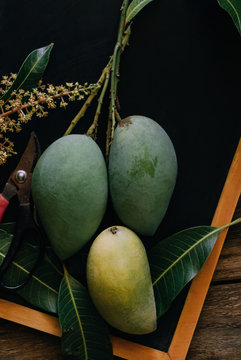 Organic mangoes on wooden table