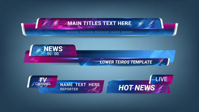 Graphic set of Broadcast News Lower Thirds Banner for Television, Video and Media Channel