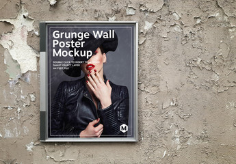 Billboard Poster on a Grunge Textured Wall Mockup