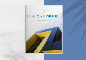 Company Profile Layout with Blue and Orange Accents