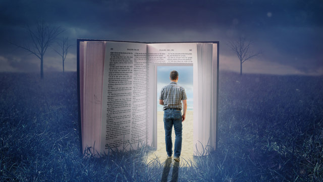 Der Dunkelheit durch eine Bibel entfliehen