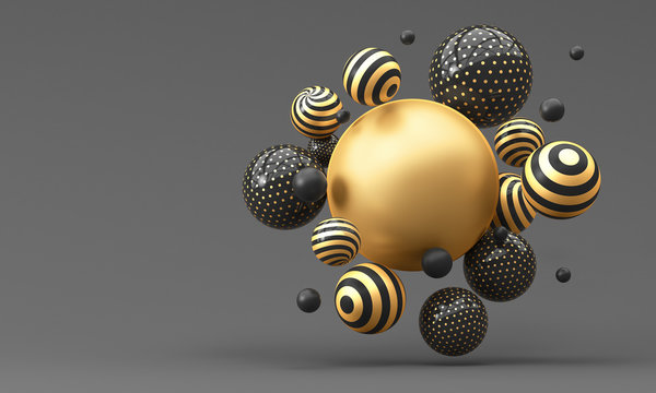 Many flying gold striped balls on a dark background. 3d render illustration.