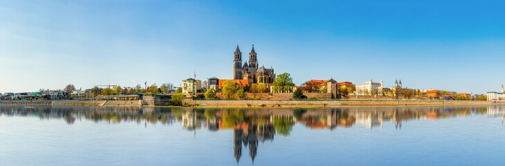 The Magdeburg Skyline in Saxony Anhalt, Germany