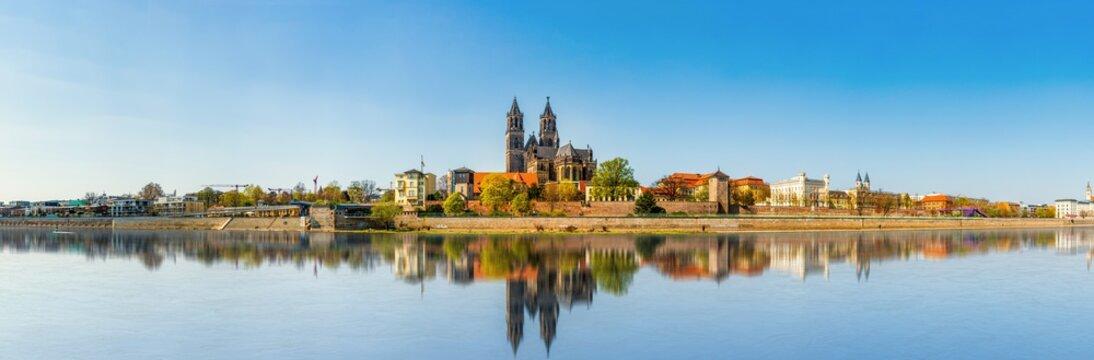 The Magdeburg Skyline in Saxony Anhalt, Germany