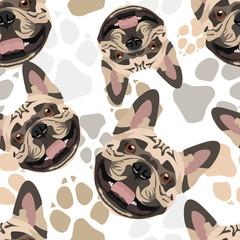 Muster Hundepfoten Französische Bulldogge