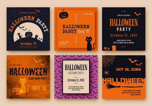 Halloween Social Media Banner Layout Set