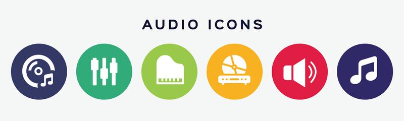 Vector set of audio icons.