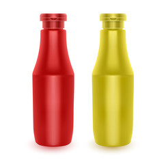 Set of Realistic bottles of ketchup and mustard, Bottles for Branding Isolated on White Background, Vector EPS 10 illustration