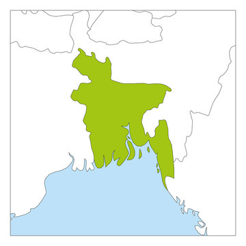 Map of Bangladesh green highlighted with neighbor countries