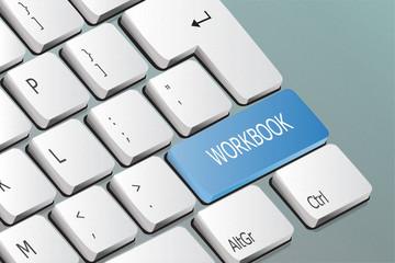 workbook written on the keyboard button