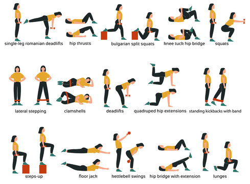 Set of glute exercises and workouts. Flat vector illustration. Glute exercises with titles or names. Woman doing glute  exercises